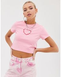 ASOS Cropped T-shirt With Barb Wire Heart - Pink