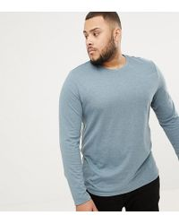 ASOS Plus Long Sleeve T-shirt With Crew Neck - Blue