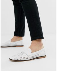 ASOS Loafers In Woven White Faux Leather With Tassel Detail