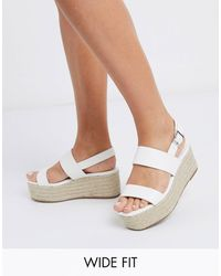 Truffle Collection Wide Fit Platform Espadrilles - Yellow