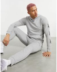 Reebok Training Tracksuit With Vector Sleeve Print - Grey