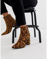 Public Desire Chaos Mixed Animal Heeled Ankle Boots - Brown