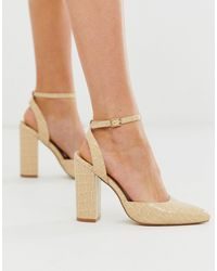 Truffle Collection Pointed Block Heel - Natural