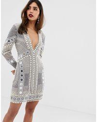 ASOS Disc And Pearl Mini Dress - Grey
