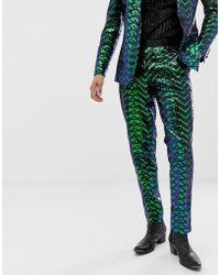 ASOS Skinny Tuxedo Pants In Green Geo Patterned Sequins
