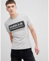 Barbour - Slim Fit Logo Tee In Grey - Lyst