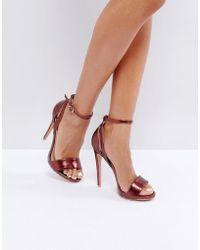 Lost Ink Raula Burgundy Heeled Sandals - Red