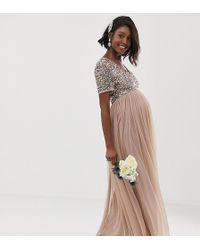 dc374d5149783 Maya Maternity - Bridesmaid V Neck Maxi Tulle Dress With Tonal Delicate  Sequins In Taupe Blush