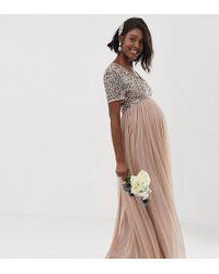 dcc3fcad6 Vestido largo de tul de dama de honor con cuello de pico y delicadas  lentejuelas a tono en rubor topo - Marrón