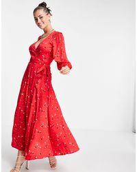 Ghost Aueline Dress - Red