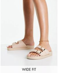 London Rebel Wide Fit Double Buckle Footbed Sandal-multi - Natural