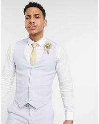 ASOS Wedding - Gilet da abito super skinny lilla con tratteggio incrociato - Viola