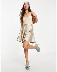 Flounce London Satin Mini Wrap Skirt - White