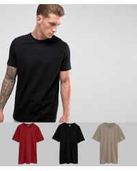 ASOS - Longline T-shirt With Crew Neck 3 Pack Save - Lyst