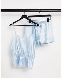Miss Selfridge – set aus satin mit camisole und shorts - Blau