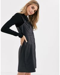 New Look Leather Look Button Through Pinny - Black