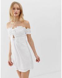 Glamorous Bardot Mini Dress With Tie Front - White