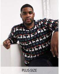 Another Influence Plus Llama Fairisle Christmas Sweater - Blue