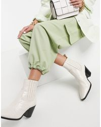 Stradivarius Moc Croc Heeled Western Boots - Multicolour