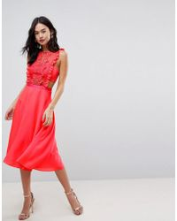 ASOS - Asos Lace Pinafore Pleated Midi Dress - Lyst