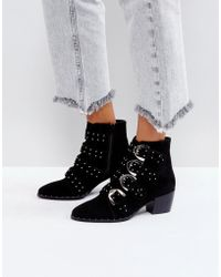 Missguided - Studded Strap Western Ankle Boot - Lyst