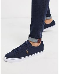Polo Ralph Lauren Sayer Canvas Trainer With Multi Polo Player In White