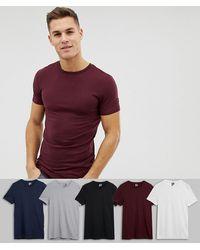 ASOS Muskel-T-Shirts mit Rundhalsausschnitt, SPECIAL OFFER: 5er-Pack - Lila