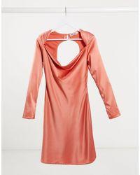 UNIQUE21 Satin Bias Cut Mini Dress With Cut Out Back - Pink
