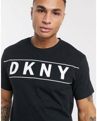 DKNY Camiseta negra con logo grande y cuello redondo - Negro