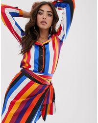 Never Fully Dressed – Bluse mit mehrfarbigem Streifenmuster