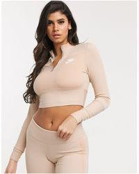 Nike Air - Top accollato a coste a maniche lunghe beige chiaro - Neutro