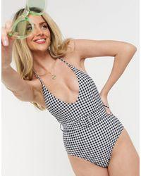 New Look Costume da bagno a quadretti con cintura - Nero