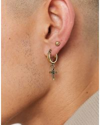Icon Brand - Золотистые Серьги-кольца С Подвеской В Виде Креста -золотистый - Lyst
