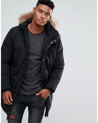 Threadbare Faux Fur Fleece Lined Parka - Black