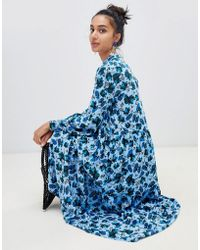 Lost Ink - High Neck Midaxi Shift Dress In Winter Floral - Lyst