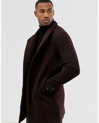 Jack & Jones Бордовое Шерстяное Пальто С Воротником-стойкой Premium-красный - Черный