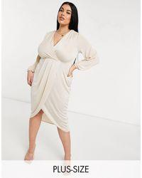 Closet London Plus Twist Wrap Front Jersey Wrap Dress - Natural