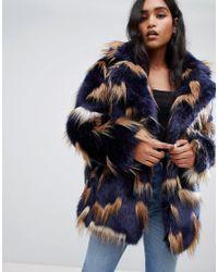 ASOS - Patched Faux Fur Coat - Lyst