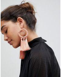 ASOS - Statement Beaded Hoop And Tassel Earring - Lyst