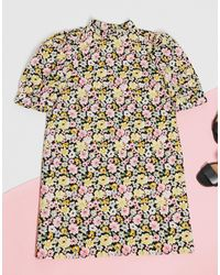 Vila Vestito corto con maniche a sbuffo a fiori - Multicolore