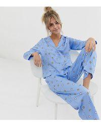 ASOS ASOS DESIGN Petite - Exclusivité - Pyjama avec pantalon 100 % modal à imprimé petites étoiles - Bleu