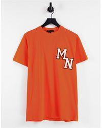 Mennace T-shirt avec broderie style universitaire - Orange