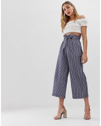 ONLY Chambray Stripe Tie Waist Trousers - White