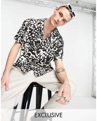 Reclaimed (vintage) – Inspired – Hemd mit Tierfellmuster und Reverskragen, Kombiteil - Schwarz