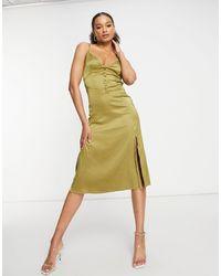 Naanaa Атласное Платье Миди Фисташкового Цвета -зеленый Цвет