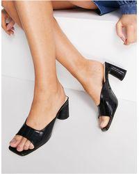 London Rebel Cut Out Block Heel Mule Sandals - Black