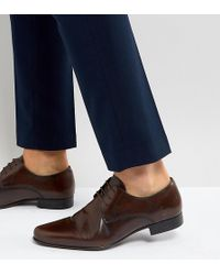 ASOS Asos Wide Fit Derby Shoes In Brown Leather
