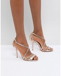 Dune - Rose Gold Metallic Heeled Sandals - Lyst