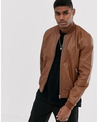 ASOS Leather Bomber Jacket - Brown