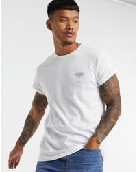 Pull&Bear Muscle Fit T-shirt With Chest Print - White
